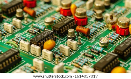 Closeup on Electronic device and electronic board, background #1614057019