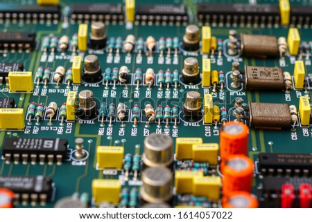 Closeup on Electronic device and electronic board, background #1614057022