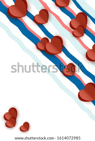 Bright abstract romantic design. Many cut out paper hearts, colored wavy stripes on a white background. Vector illustration. #1614072985