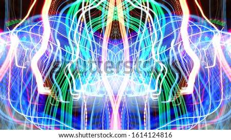 Light effects. Neon glow. Symmetry and reflection. Festive decoration. Abstract blurred background. Glowing texture. Shining pattern. #1614124816