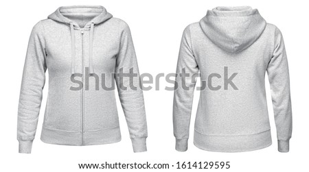 Gray female hoodie sweatshirt with zipper and long sleeve, women hoody with hood for your design mockup for print, isolated on white background. Template sport pullover front and back view #1614129595