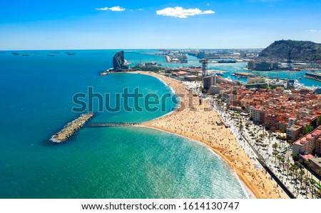 Barcelona central beach aerial view Sant Miquel Sebastian plage Barceloneta district catalonia #1614130747
