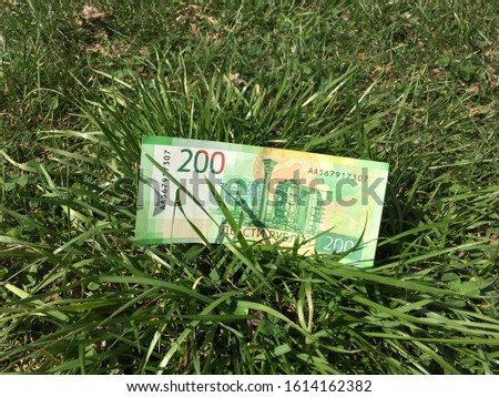 two hundred rubles Russian banknote in green grass.  green money concept #1614162382