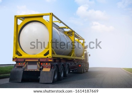 Gas Truck on highway road with tank oil  container, transportation concept.,import,export logistic industrial Transporting Land transport on the asphalt expressway with blue sky #1614187669