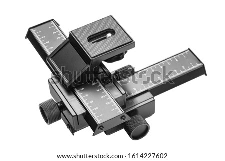 Focus Stacking Tripod Head. Photographic equipment for Macro Shots. 4-Way Macro Focusing Focus Rail Slider  Photography Shooting. Isolated on 255 White Background with Clipping Path Included in JPEG