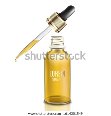 Glass dropper with golden yellow face oil or serum - realistic mockup of liquid beauty product with gold label text template. Isolated vector illustration. #1614301549