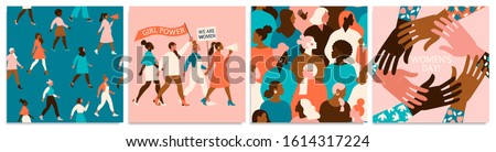 Set of vector illusttation. 8 march, International Women's Day. Feminism concept design. Vector templates for card, poster, flyer and other users. Royalty-Free Stock Photo #1614317224