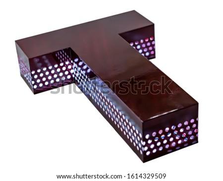 illuminated unlit signboard, box letters.