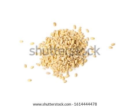 Heap of pearl barley isolated on white background close up. Raw dry pearled barley or pearl-barley cereals top view #1614444478