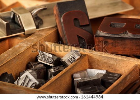 Old letter case with different types