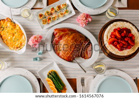 Easter Brunch, Ham Dinner, Dinner Table Spread #1614567076
