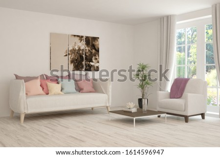 Stylish room in white color with sofa and summer landscape in window. Scandinavian interior design. 3D illustration #1614596947