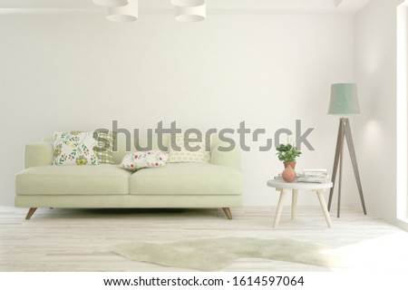 Stylish room in white color with sofa. Scandinavian interior design. 3D illustration #1614597064