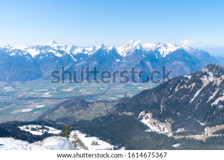 View from la Berneuse above Leysin Switzerland. Elevation 2000m overlooking the Rhone valley and lake Geneva (lac Leman)  #1614675367