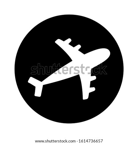 Air plane round icon. Black silhouette shape. Airplane flying sign symbol. Travel concept. Flat design. White background. Isolated