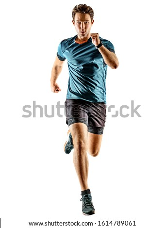 one caucasian runner running jogger jogger young man in studio isolated on white background #1614789061