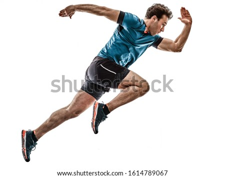 one caucasian runner running jogger jogger young man in studio isolated on white background #1614789067