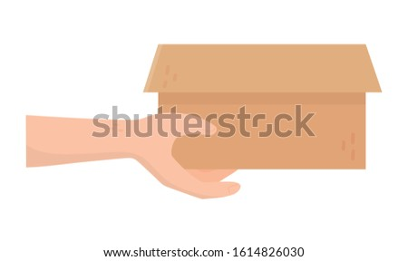 hand with cardboard box charity and donation concept vector illustration #1614826030