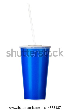 Blue cup with cap and tube isolated on white background. Concept of refreshments in cinema or watching movies #1614873637
