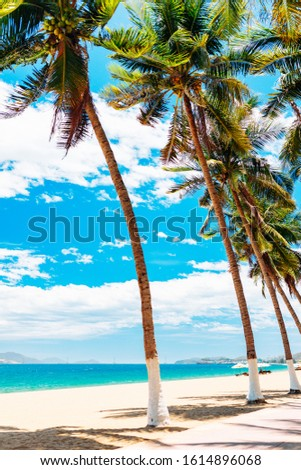 Empty paradise beach, blue sea Beautiful tropical island. Holiday and vacation concept, vacation in Asia #1614896068