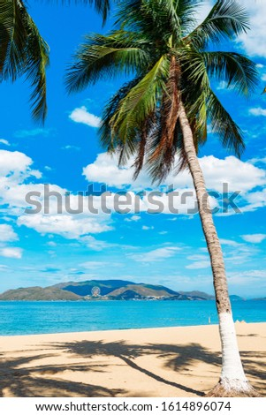 Empty paradise beach, blue sea Beautiful tropical island. Holiday and vacation concept, vacation in Asia #1614896074