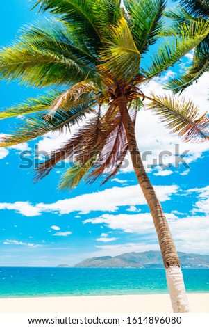 Empty paradise beach, blue sea Beautiful tropical island. Holiday and vacation concept, vacation in Asia #1614896080