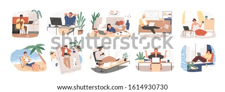 Freelance people work in comfortable conditions set vector flat illustration. Freelancer character working from home or beach at relaxed pace, convenient workplace. Man and woman self employed concept Royalty-Free Stock Photo #1614930730