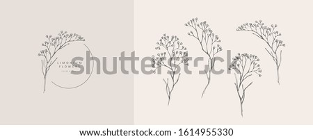 Limonium, babys breath logo and branch. Hand drawn wedding herb, plant and monogram with elegant leaves for invitation save the date card design. Botanical rustic trendy greenery vector illustration #1614955330