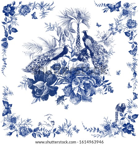 Silk scarf with floral and wild animal. peacock illustration. Vintage design shawl with roses. Fairytale forest. hand drawn flower line graphics. fashion textile design Indigo color.