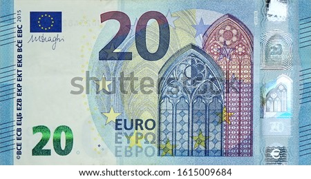 Fragment part of 20 euro banknote close-up with small blue details #1615009684