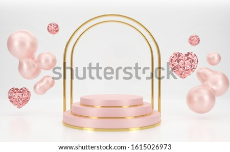3d rendering Pink podium steps with Gold gate shape and hearts shape floating  liquid background. #1615026973