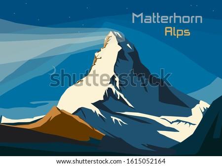 Matterhorn, Swiss Alps. Landscape of Alps with Matterhorn, vector illustration Royalty-Free Stock Photo #1615052164