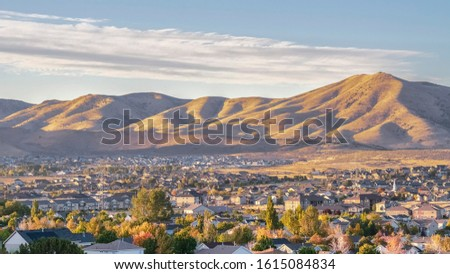 Panorama frame Houses in the Utah Valley at sunrise #1615084834