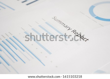 Business document report data with bar charts, pie charts, line graphs, on paper. Research data for market analysis and corporate financial planning. #1615103218