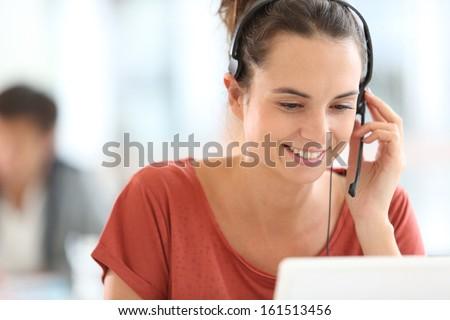 Portrait of beautiful customer service representative #161513456