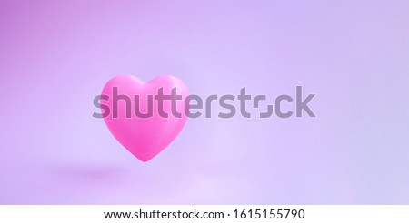 Saint Valentines day heart. Greeting banner for love day with cute pink bubble 3d effect levitation heart. Space for text. Gentle clear background