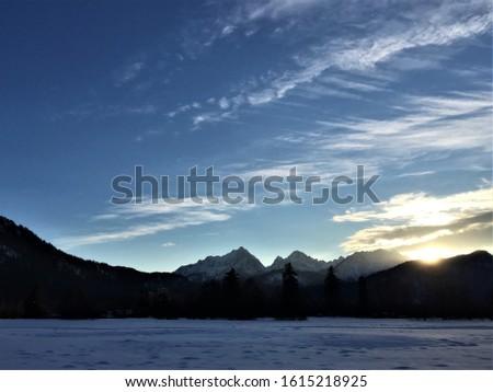 Evening to evening winter German landscape #1615218925