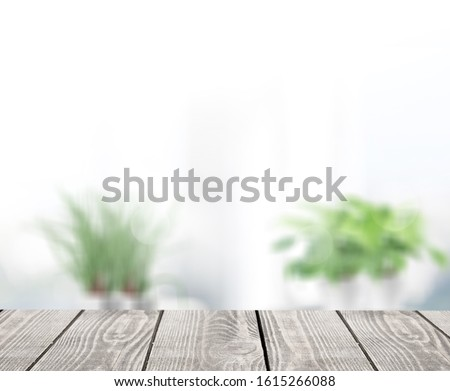 Abstract blur interior bathroom background with wooden desk #1615266088