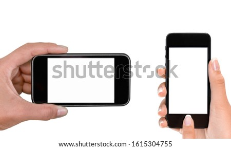 Woman hand holding the smartphone with white screen #1615304755