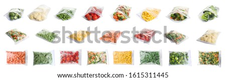 Set of different frozen vegetables in plastic bags on white background Royalty-Free Stock Photo #1615311445