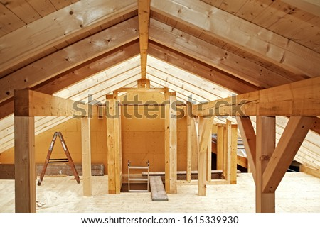 The Timber Roof Truss  of a New Half-timbered Building #1615339930