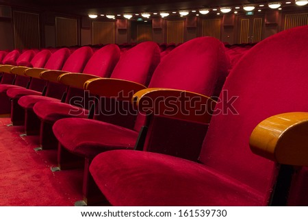 Empty red seats for cinema, theater, conference or concert #161539730