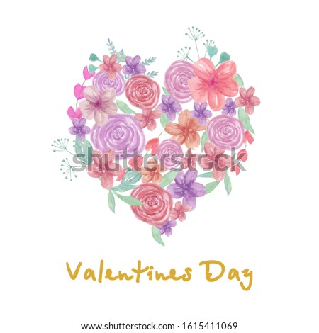 Watercolor frame of flower and leaves different colors. Beautiful design  for valentine day holiday. Red, pink, purple, green watercolor botanical elements. Wedding day card. #1615411069