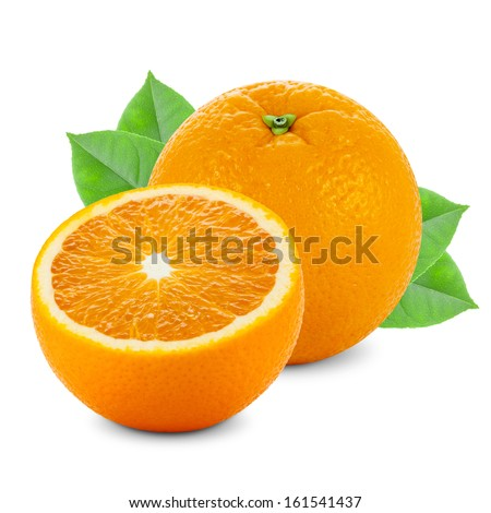 Two oranges isolated on white background - studio shot #161541437