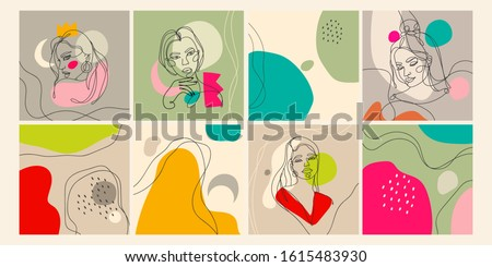 Set of eight illustrations. Outline female silhouettes and abstract backgrounds. Contemporary modern trendy vector illustrations. Every illustration is isolated. Pastel colors #1615483930