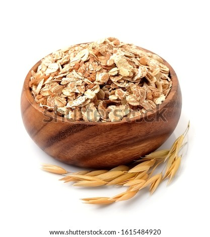 Oat flakes in bowl isolated on white backgrounds . Oat porridge.Oats harvest . Oat grain sack. Ears of oats. #1615484920