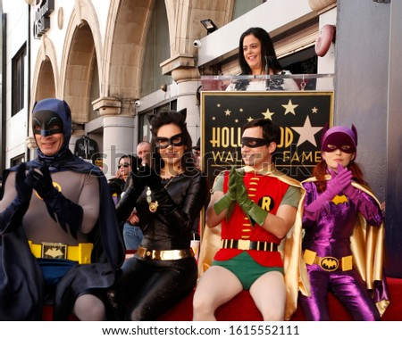 LOS ANGELES - JAN 9:  Batman, Catwoman, Robin, Riddler at the Burt Ward Star Ceremony on the Hollywood Walk of Fame on JANUARY 9, 2020 in Los Angeles, CA #1615552111