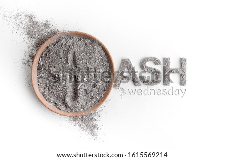 Ash wednesday, crucifix made of ash, dust as christian religion. Lent beginning Royalty-Free Stock Photo #1615569214