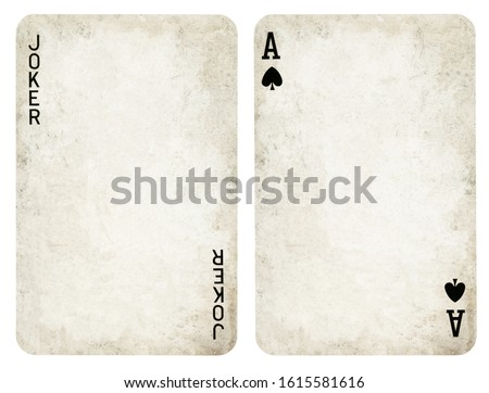 Vintage Playing Cards, Set include Jocker and Ace - isolated on white Royalty-Free Stock Photo #1615581616