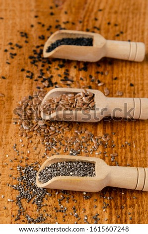 Useful seed. Proper nutrition with the addition of seeds. Chia seeds. Flax seeds. sesame seeds. #1615607248